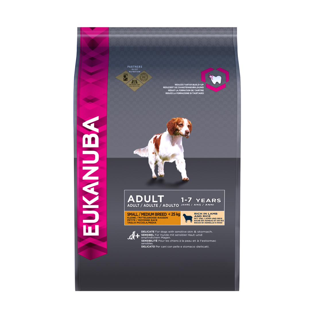 Eukanuba hondenvoer Small/Medium Adult lamb & rice 2,5 kg
