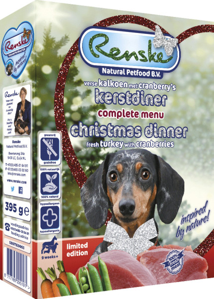 Renske hondenvoer Vers kerstdiner <br> 395 gr