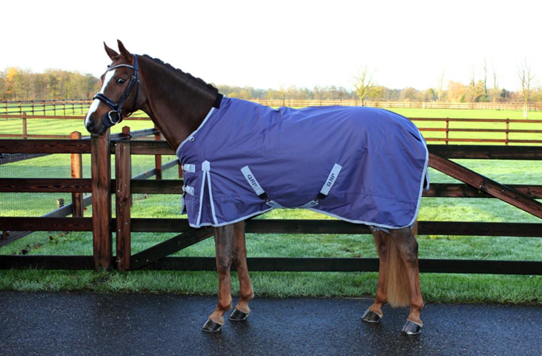 QHP outdoordeken fleece gevoerd blauw