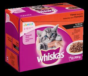 Whiskas kattenvoer Junior Vlees in Saus <br>12 x 100 gr