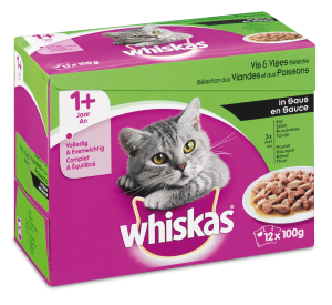 Whiskas kattenvoer Adult Vlees en Vis in Saus 12 x 100 gr