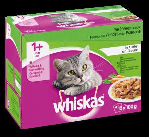 Whiskas kattenvoer Adult Vlees en Vis in Gelei 12 x 100 gr