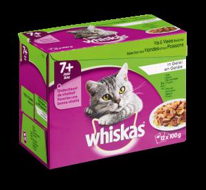Whiskas kattenvoer Senior Vlees en Vis in Gelei 12 x 100 gr