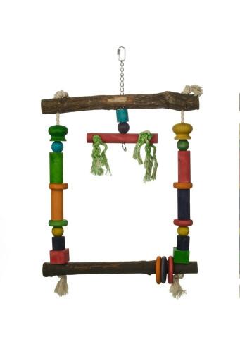 Beeztees Houten papegaaienschommel, gekleurd.