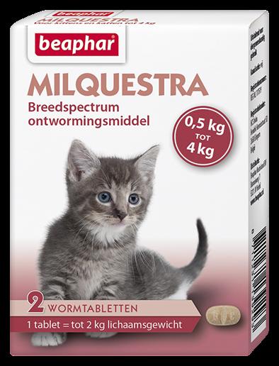 Beaphar Milquestra wormtabletten kleine kat/kitten 2 tabl.