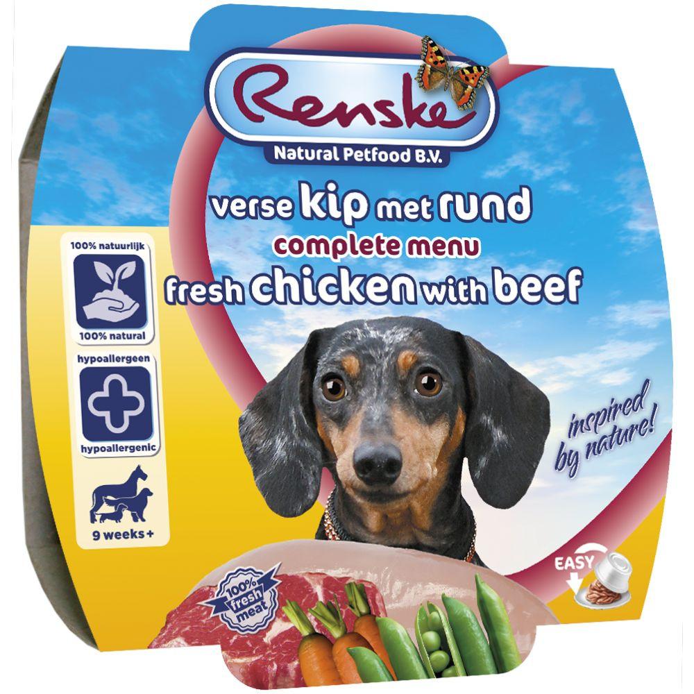 Renske hondenvoer Vers Vlees maaltijd Adult kip & rund 100 gr