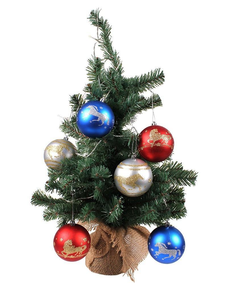 Kerstballen paard 6 stuks zilver