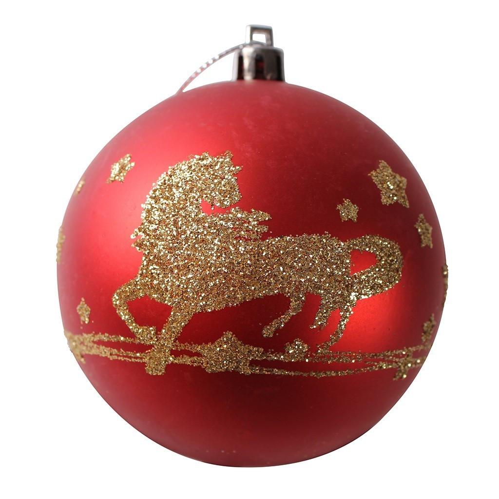 Kerstballen paard 6 stuks rood