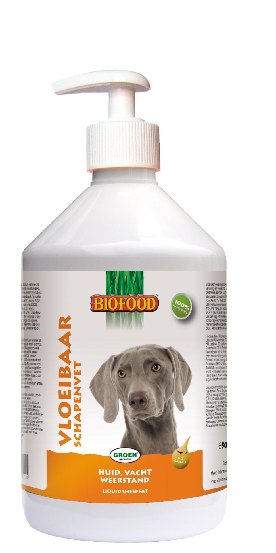 Biofood Vloeibaar Schapenvet met Zalmolie 500 ml