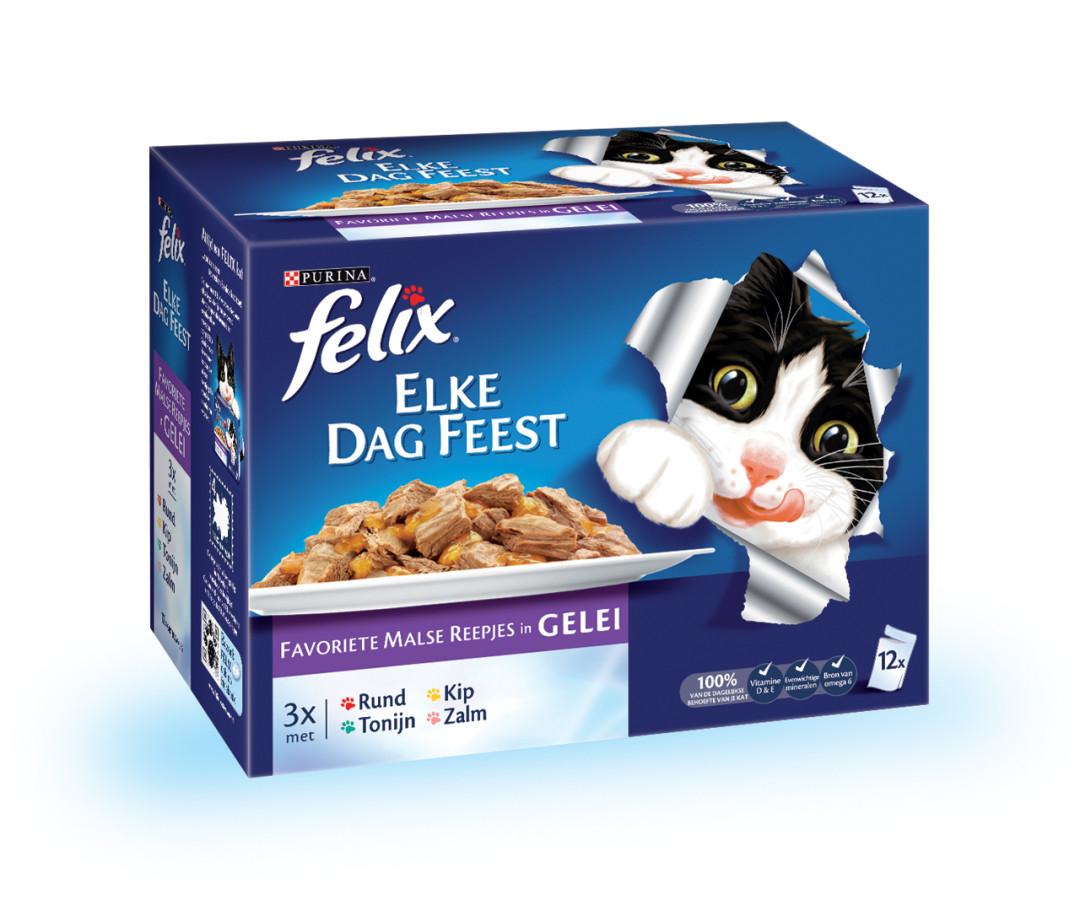 Felix kattenvoer Elke Dag Feest Mix selectie in Gelei 12x 100 gr