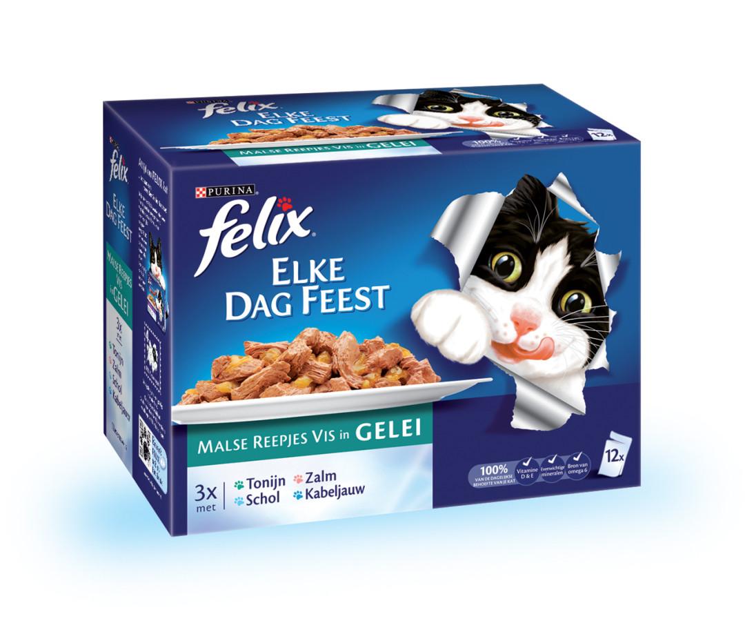 Felix kattenvoer Elke Dag Feest Vis selectie in Gelei 12 x 100 gr