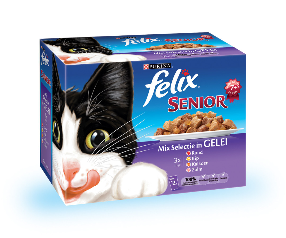 Felix kattenvoer Senior Mix selectie in Gelei <br>12 x 100 gr