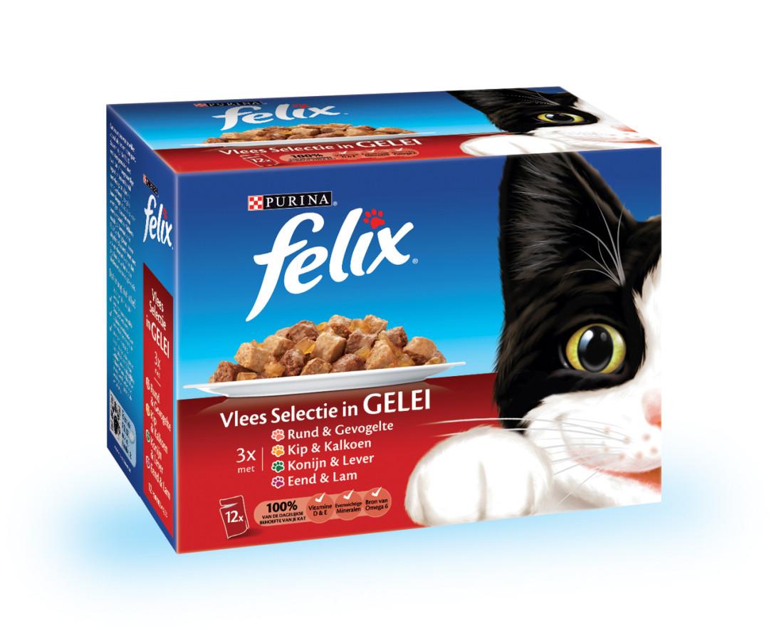Felix kattenvoer Vlees selectie in Gelei <br>12 x 100 gr