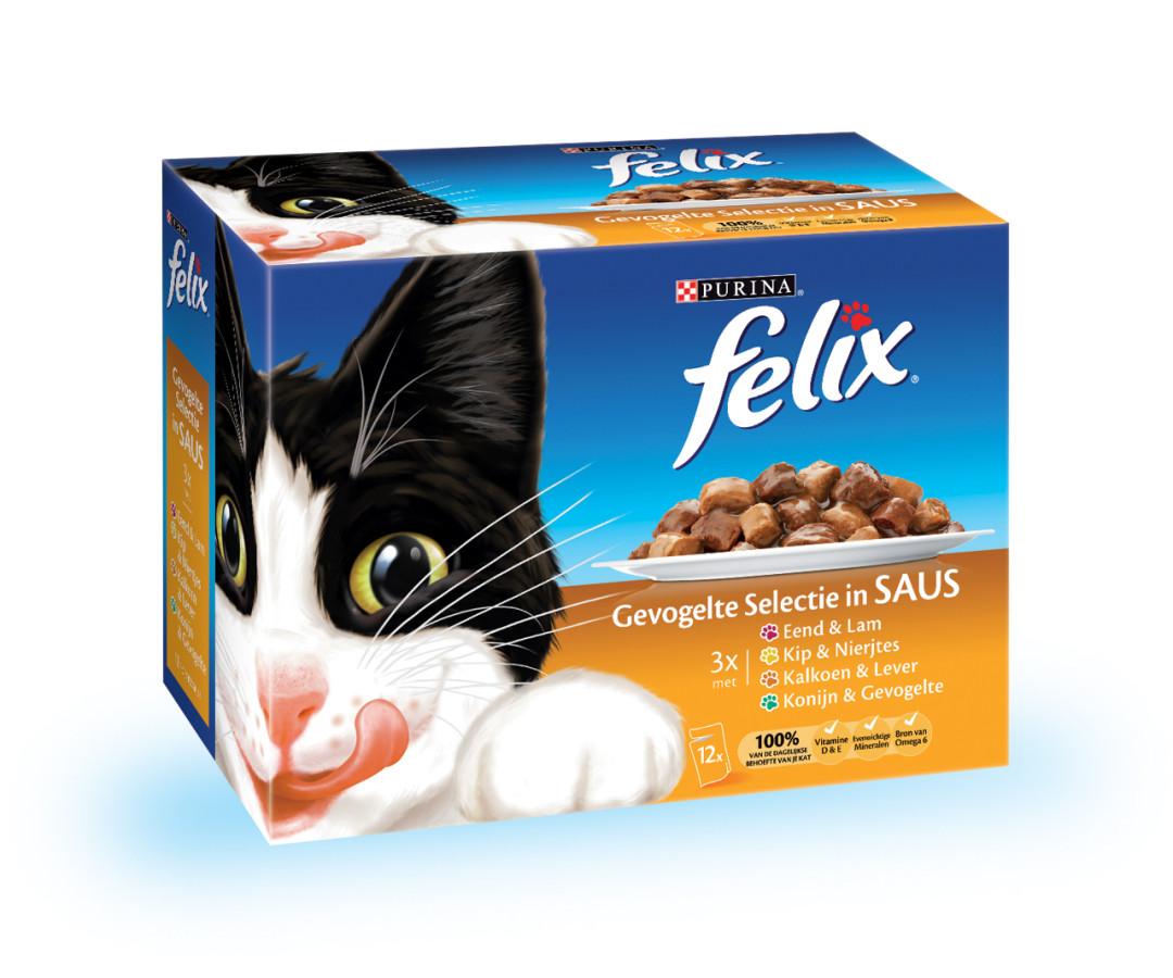 Felix kattenvoer Gevogelte selectie in Saus 12 x 100 gr