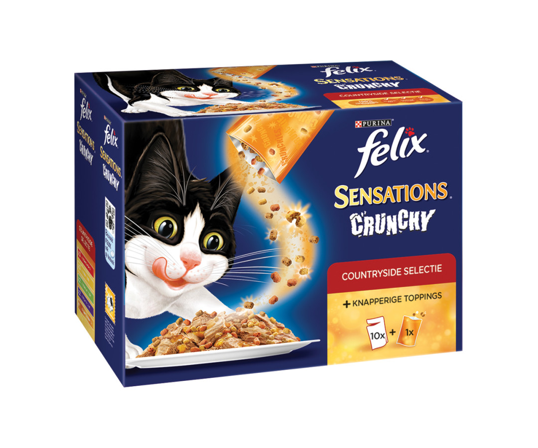 Felix kattenvoer Sensations Crunchy <br>10 x 100 gr + topping