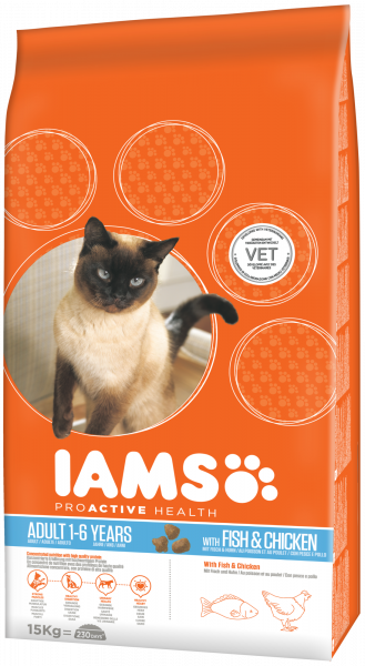 IAMS kattenvoer Adult Fish & Chicken 15 kg