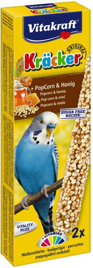 Vitakraft Kräcker Original parkiet - popcorn en honing 2 st