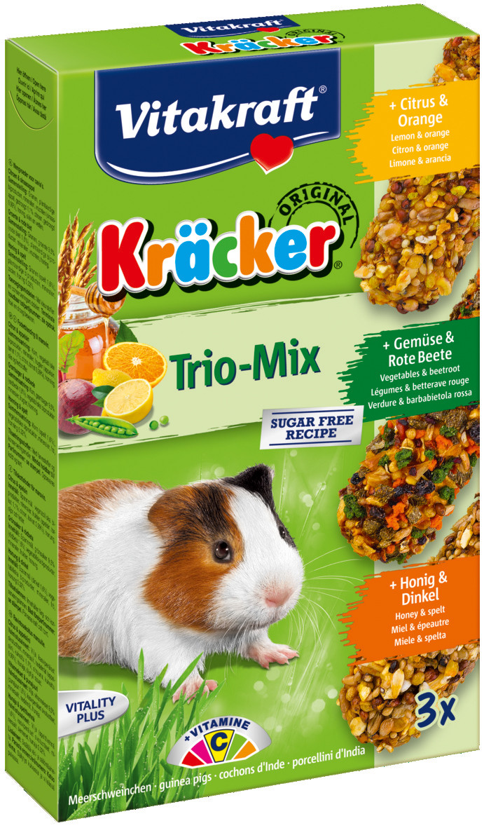 Vitakraft Kräcker Trio-Mix cavia - citrus/ groente/honing 3 st