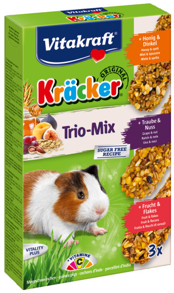 Vitakraft Kräcker Trio-Mix cavia - honing/noot/fruit 3 st