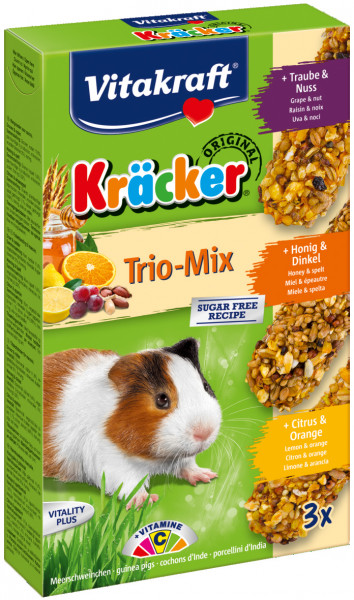 Vitakraft Kräcker Trio-Mix cavia - noot/honing/citrus 3 st