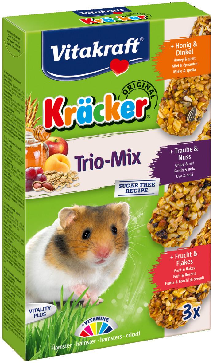 Vitakraft Kräcker Trio-Mix hamster - honing/noot/fruit 3 st