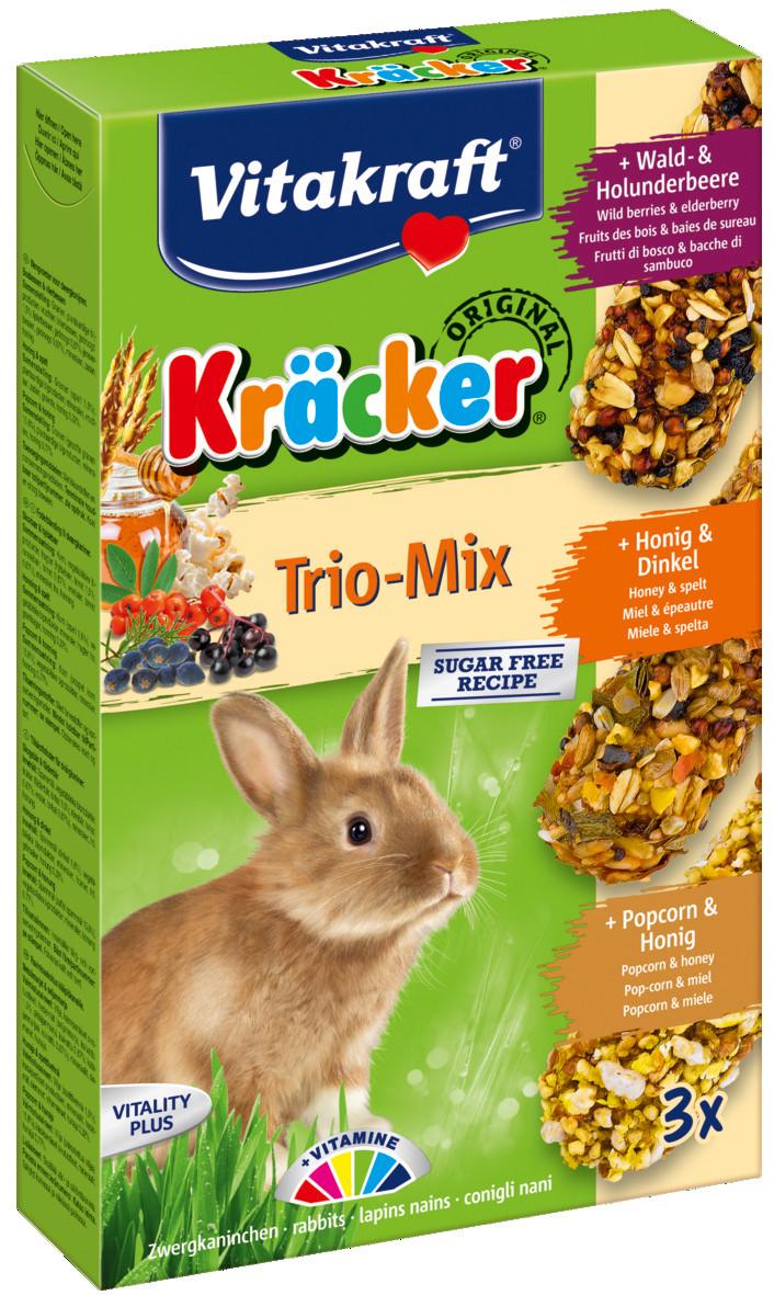 Vitakraft Kräcker Trio-Mix konijn - bosbessen/ honing/popcorn 3 st