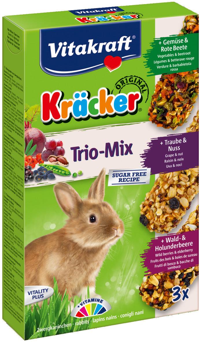 Vitakraft Kräcker Trio-Mix konijn - groente/ noot/bosbessen 3 st