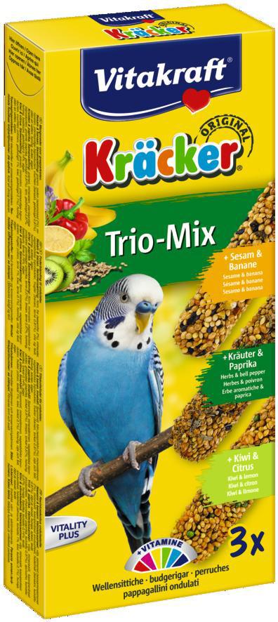 Vitakraft Kräcker Trio-Mix parkiet - banaan/ kruiden/kiwi 3 st