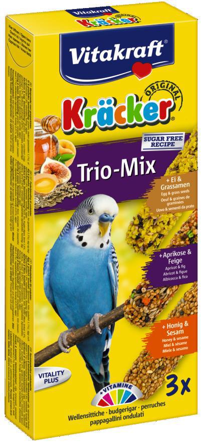 Vitakraft Kräcker Trio-Mix parkiet - ei/abrikoos/honing 3 st
