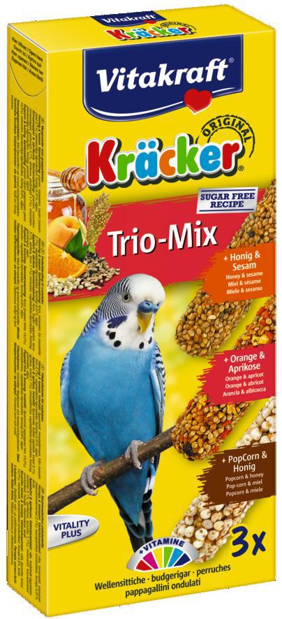 Vitakraft Kräcker Trio-Mix parkiet - honing/ sinaasappel/popcorn 3st