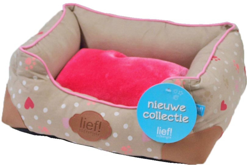 lief! lifestyle Girls divan mand taupe/roze