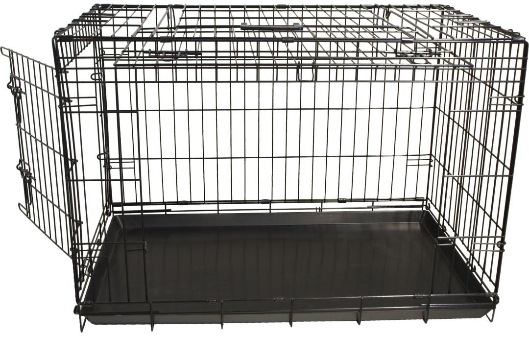 Premium hondenbench met deur en schuifdeur zwart
