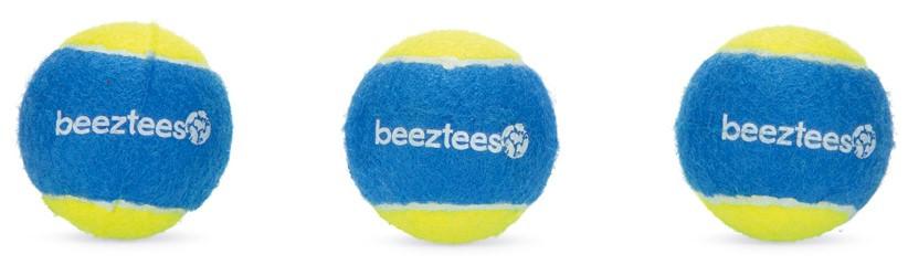 Beeztees Fetch tennisbal blauw/geel <br>3 st