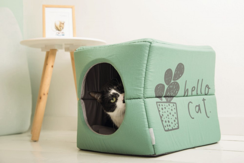 Beeztees kattenhuis Boxi groen/grijs
