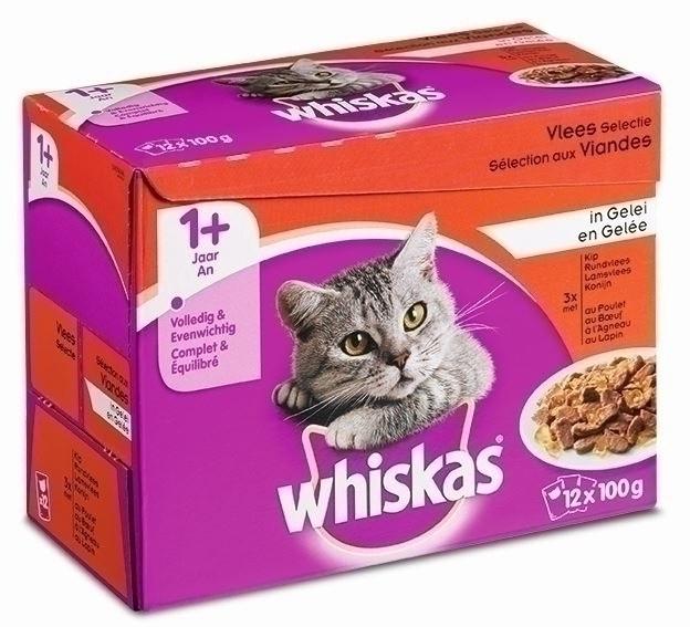 Whiskas kattenvoer Adult Vlees in Gelei <br>12 x 100 gr