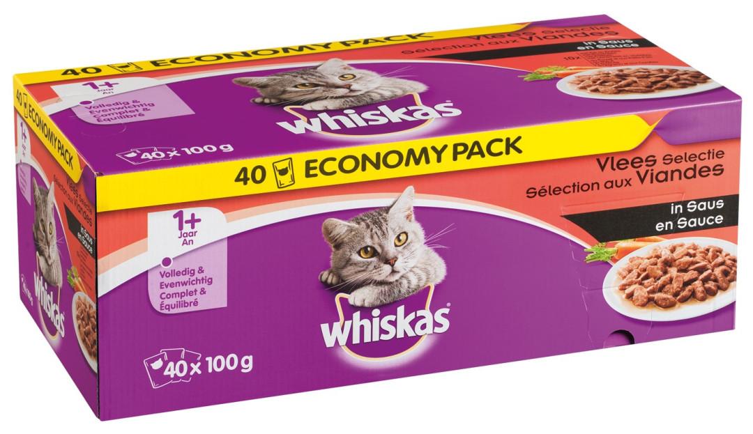 Whiskas kattenvoer Adult Vlees in Saus <br>40 x 100 gr