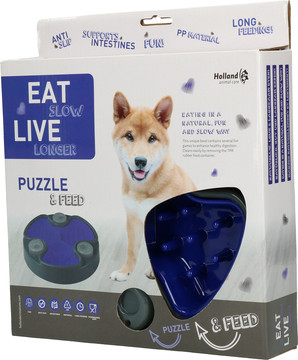 Eat Slow Live Longer voerbak Puzzle and Feed blue