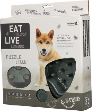 Eat Slow Live Longer voerbak Puzzle and Feed grey