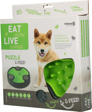 Eat Slow Live Longer voerbak Puzzle and Feed green