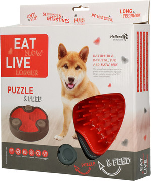 Eat Slow Live Longer voerbak Puzzle and Feed red