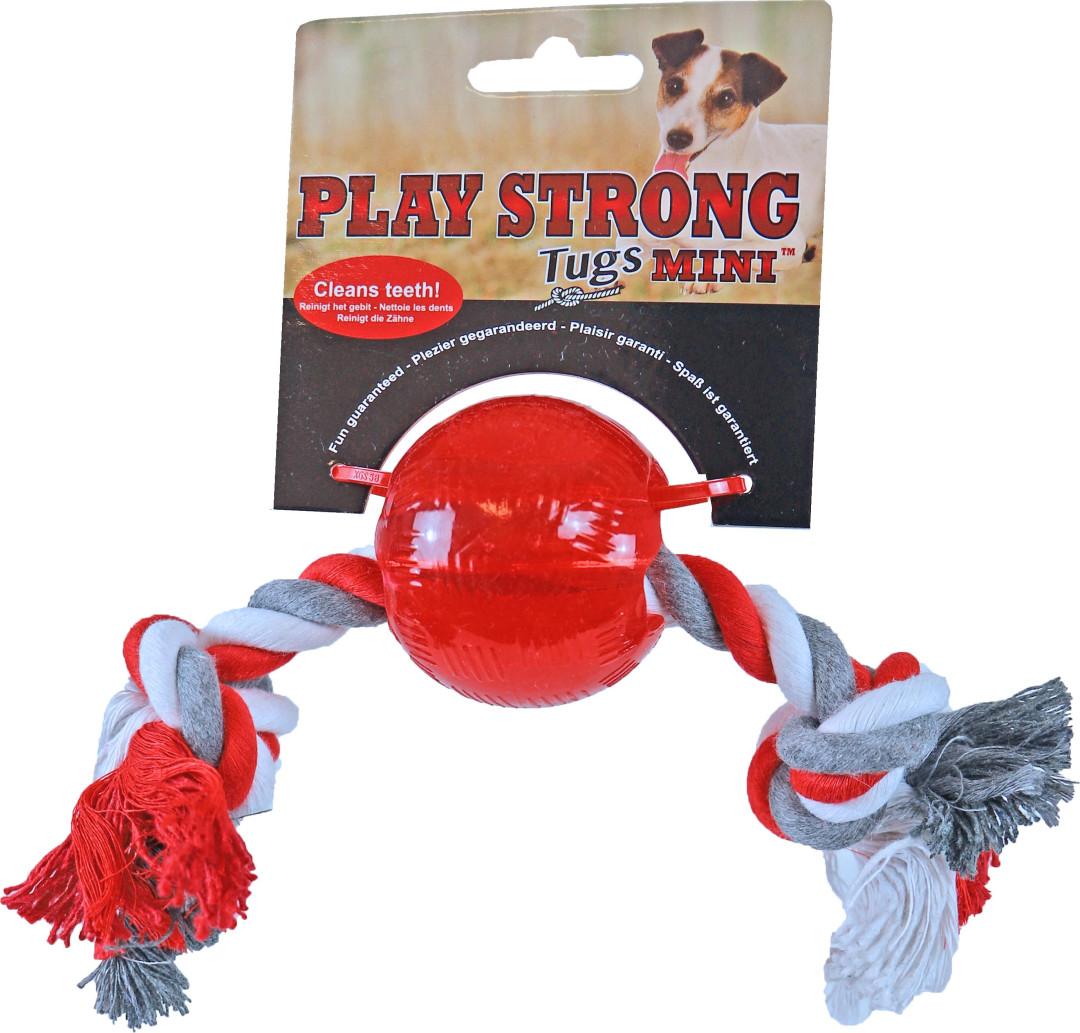 Play Strong Mini bal met floss 6 cm rood