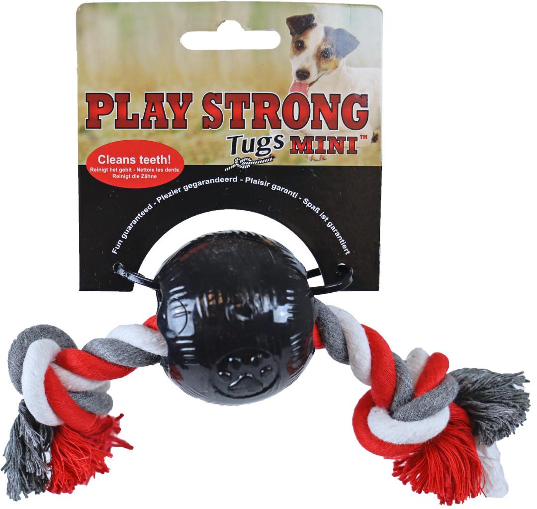 Play Strong Mini bal met floss 6 cm zwart