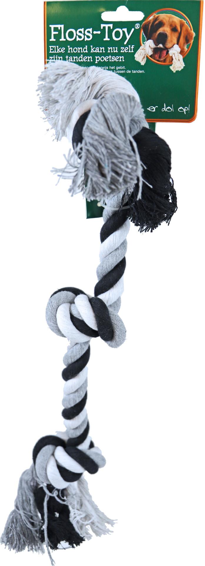 Floss-Toy 3-knoop zwart/wit