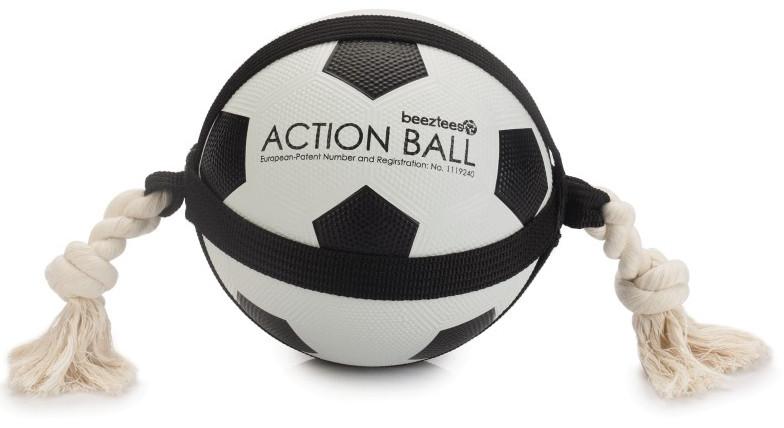 Beeztees Action voetbal met touw 19 cm