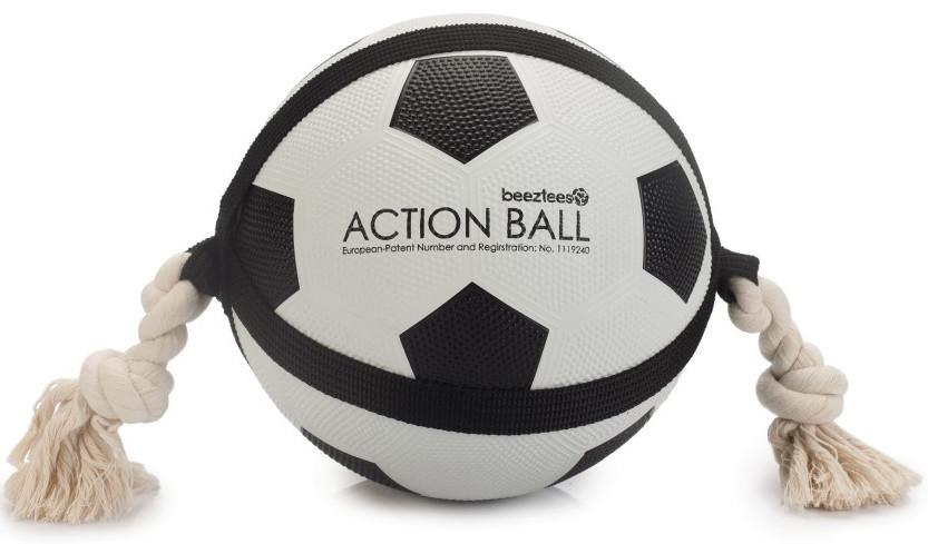 Beeztees Action voetbal met touw <br>22 cm