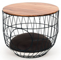 51 Degrees North wire Cat Table with cushion black thumb