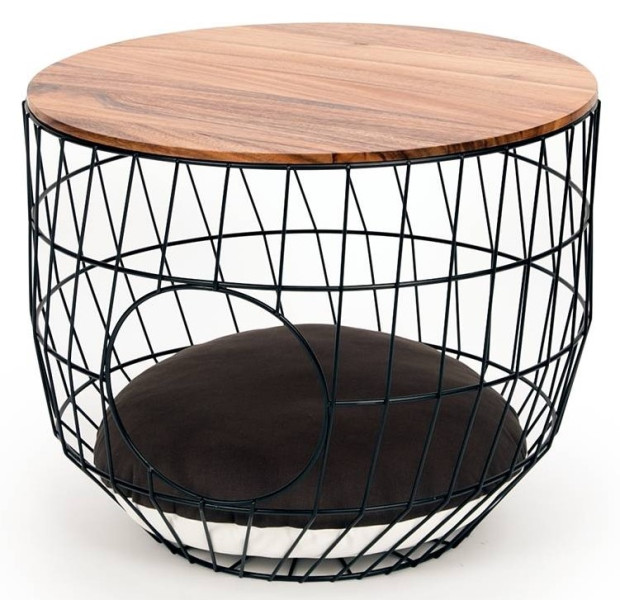51 Degrees North wire Cat Table with cushion black