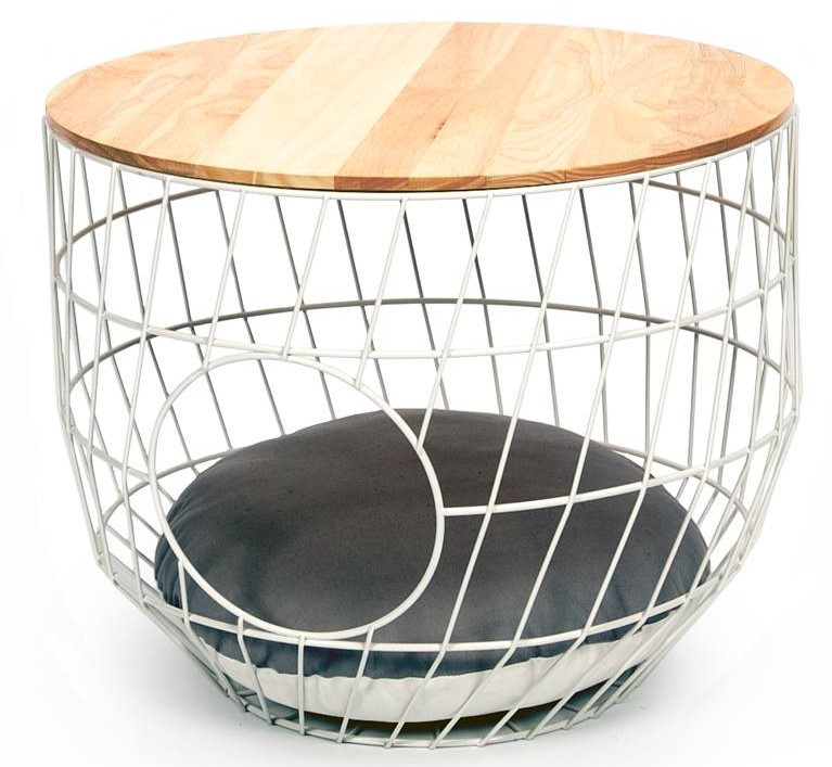 51 Degrees North wire Cat Table with cushion white