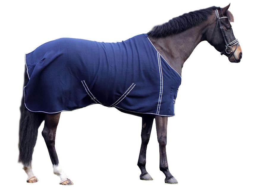 QHP fleecedeken Basic met singels blauw