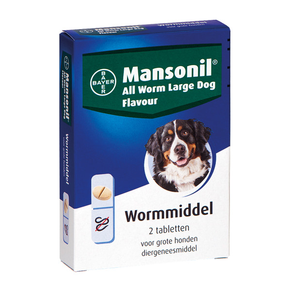 Mansonil All Worm tabletten large hond <br>2 st